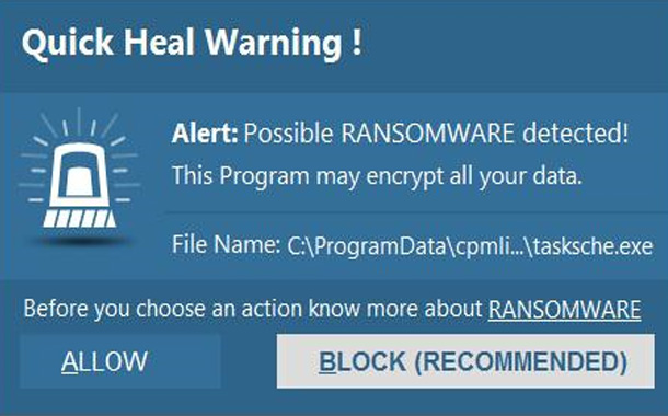 Quick Heal detected over 48,000 attempts of WannaCry ransomware